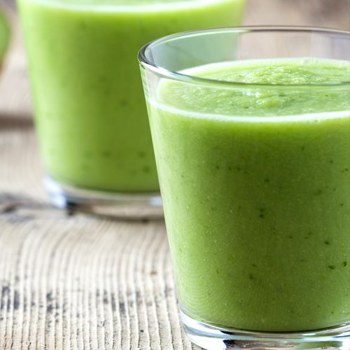 Cool down on those warmer days with our Peach Kale Smoothie