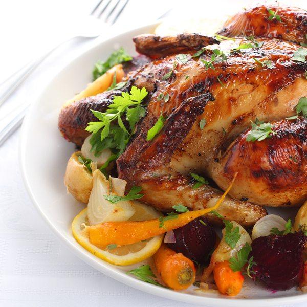 Roast Chicken with Balsamic Glaze & Fig Pistachio Quinoa Stuffing