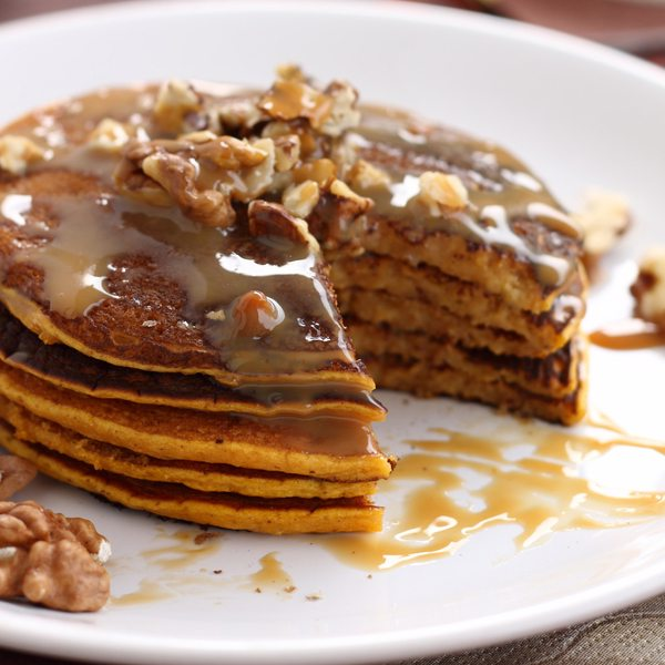 Sweet Potato Pancakes with Caramel Walnut Topping