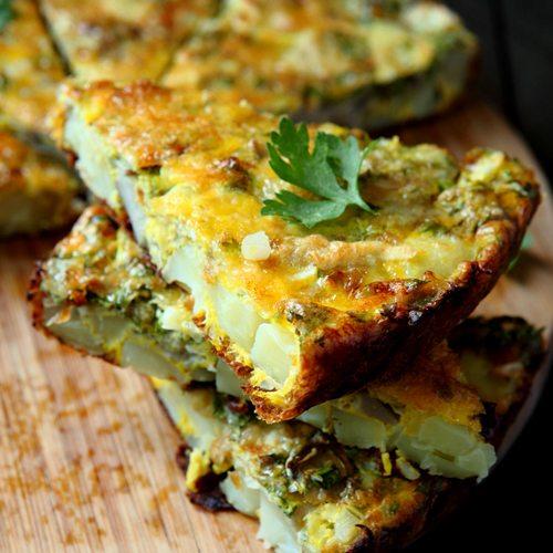 Kale, Potato, And Onion Frittata Recipe — Dishmaps