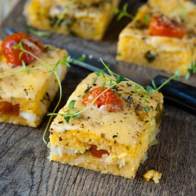 Baked Polenta and Cherry Tomato Squares