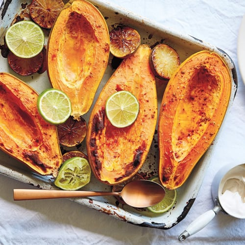 Baked papaya with lime & coconut yoghurt