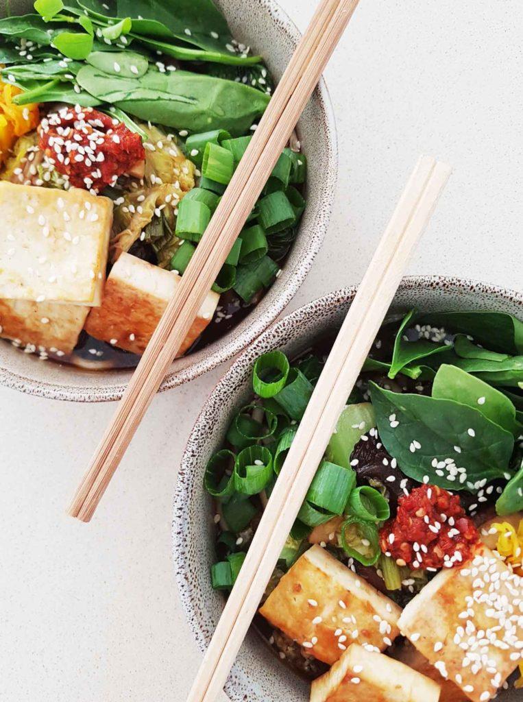 mushroom noodle bowl