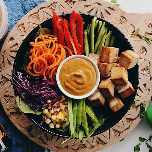 Veggie Rainbow Bowl with Peanut Sauce