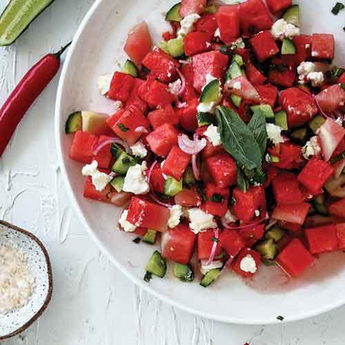 Watermelon, chilli & goats cheese salad