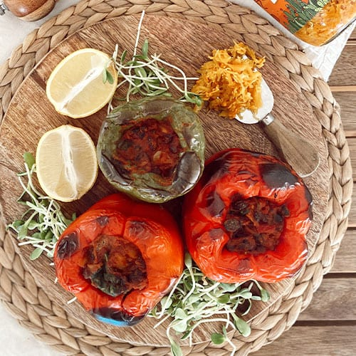 Vegan Stuffed Spicy Capsicums