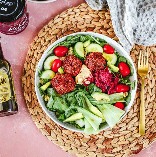 Beetroot, pumpkin + lentil falafel nourish bowl