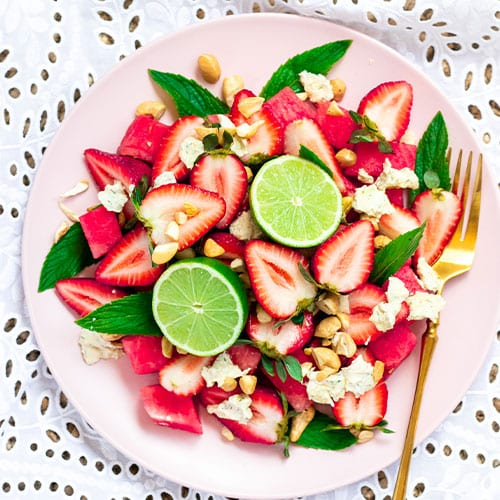 Watermelon, Strawberry & Cashew Cheese Salad