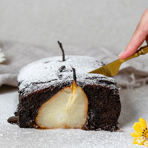 Chocolate Loaf Cake with Poached Pears