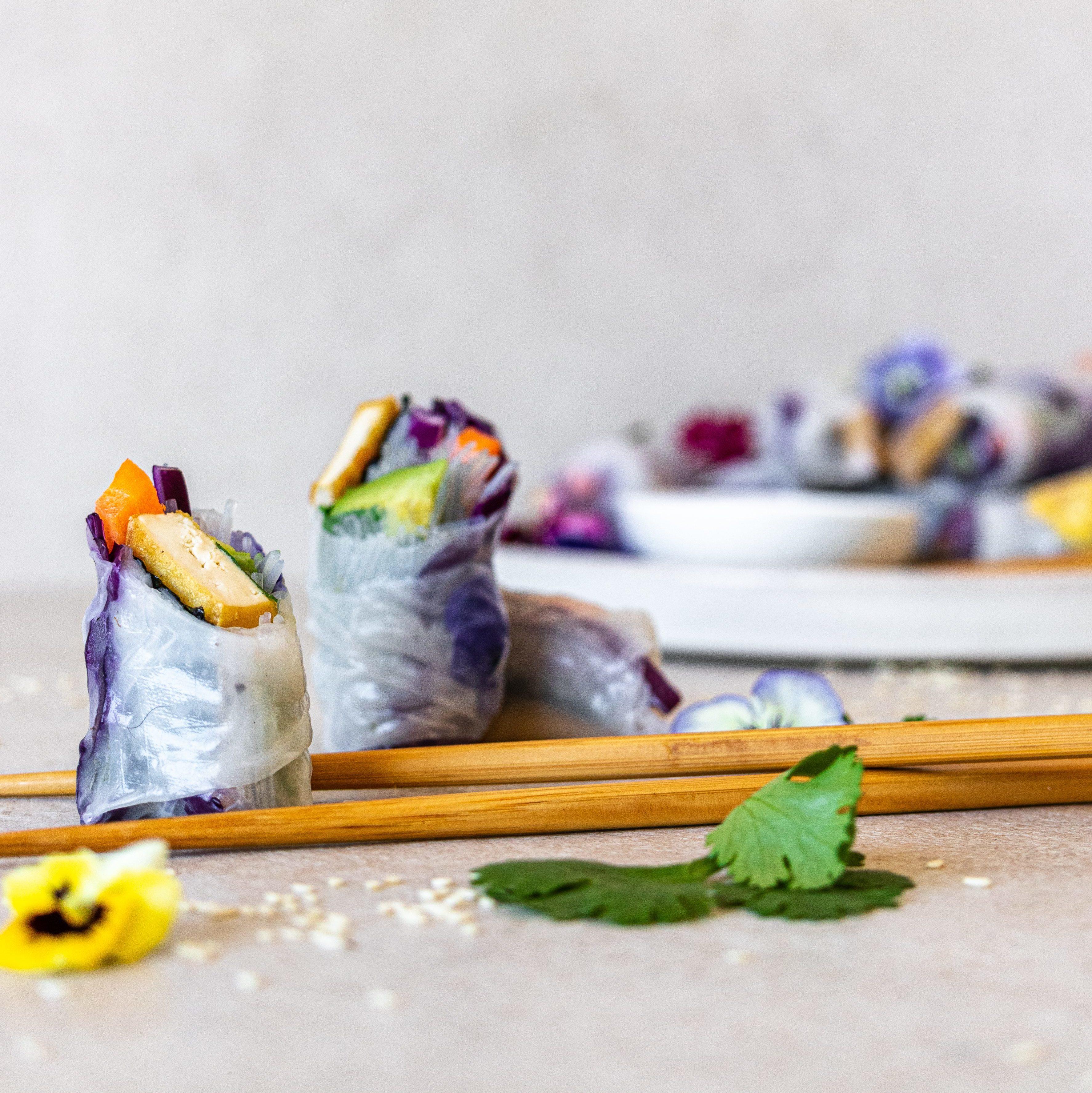 Smoked Tofu Rice Paper Rolls
